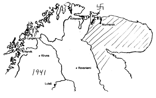 Scandinavia - Kola peninsula political map drawing 1941